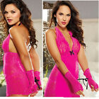 Sexy Ladies Babydoll Lingerie Lace Dress Intimate Sleepwear G string Handcuff