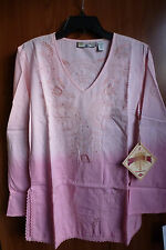 NWT Caribbean Joe Boho Romantic Embroidery Tunic/Cover-up/Blouse Pink Size Small