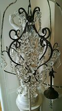 SHABBY Vtg chandelier french style beaded LAMP CRYSTAL FRENCH PRISMS
