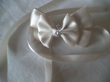 Stunning White, bridal, flower girl Diamante Ribbon bow hair clip