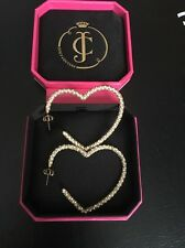 Juicy Couture Pave Crystal Heart Hoop Earrings Gold With White Clear Diamontes