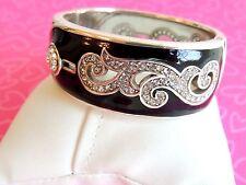 Brighton Bracelet ZELDA Black Elegant Silver Crystals Bold NWOT Retired