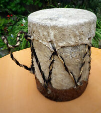 African Goat Skin Bongo Rattle Drum Ethnic Music Craftwork
