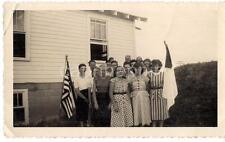 Patriotic US American Flag Group Girls Women Men School? Vintage 1950s Photo