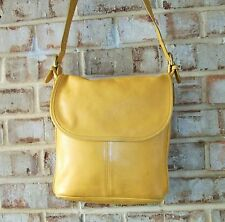 COACH Vtg YELLOW LEATHER L Whitney Slim Duffle Hobo Crossbody 4115 HTF Color