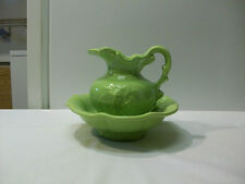 Vintage McCoy Art Pottery Light Green Small Pitcher & Wash Basin