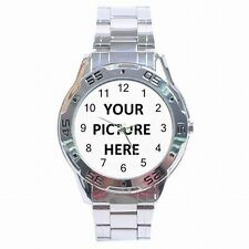 Stainless Steel Men's Analogue Watch Custom Personalized YOUR PICTURE PHOTO