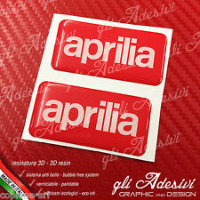 2 Adesivi Resinati Sticker 3D APRILIA Red & White 50 x 25