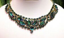 Vintage JULIANA Green Blue Purple Peacock AB Rhinestone Necklace - MINT!!