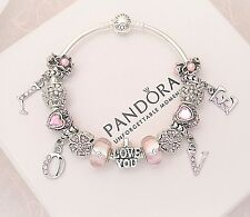 Authentic Pandora Sterling Silver Bracelet with Love Pink European Charms