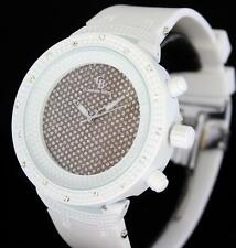 Snow White 48mm Hip Hop CZ White Silicone Summer Fashion Icy Mens Bling Watch