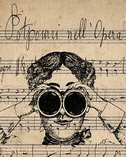 Steampunk Woman Art Print 8 x 10 - Victorian Binoculars - Sheet Music Collage