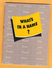 """1940s """"What's In A Name"""" from Ethyl Corporation, boy & girl names, 26 pp"""