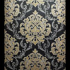 Black, Gold & Silver, Damask Pattern Wallpaper, Printed on a Heavyweight Vinyl