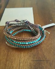 Chan Luu turquoise aventurine silver 925 5X wrap Bracelet brown leather