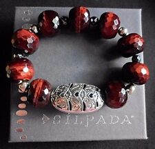 Silpada NEW Tiger's Eye Stretch Sterling Silver Bring the Heat Bracelet B2900