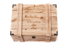 Personalised Engraved Christmas Eve Box Vintage Wooden Oak Chest Large Box