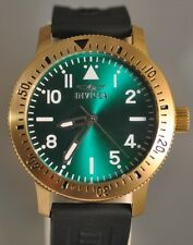 New Mens Invicta Specialty Gold Tone Case Green Dial Black Poly Watch 11403
