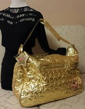 Betsey Johnson Betseyville Weekender Gold Star Quilted Travel Tote Duffel Bag