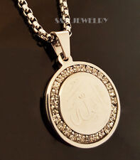 "New Stainless Steel CZ Allah muslim Pendant & 24"" Round Box Chain Necklace 174S"