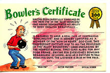 Man Bowler Certificate-300 Club-Bowling Sport Humor Comic Funny Vintage Postcard