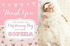 CHRISTENING THANK YOU CARDS, GIRLS,10 PERSONALISED,  PHOTO (FLAT NOT FOLDED)