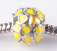 1pcs Painted love Lemon yellow big hole Beads Fit European Charm Bracelet ZZ808