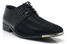 Parrazo Men Dress Formal Wedding Tuxedo Shoes Patent  Fabric Croco Metal Toe JY2