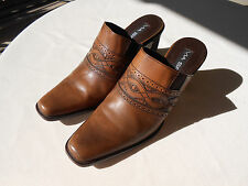 Via Spiga dk. tan leather western style boot slides heels  7.5  M made in Italy