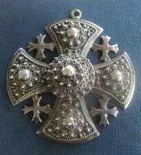 Vintage Unusual LARGE Sterling Silver JERUSALEM Cross Pendant c.1950/60s