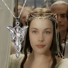 Vintage Lord of the Rings Movie Arwen Evenstar Silver tone Pendant Necklace