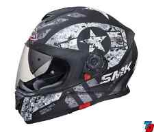 SMK Helmets -Twister -Captain Matt Black Grey - Full Face Dual Visor Bike Helmet