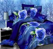 HOT SALE Blue Rose 3D NEW Single Size Bedding Set Quilt Duvet Cover Pillowcase L