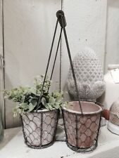 Two Terracotta Pots in Rustic Wire Mesh Carry Caddy Baskets Garden Herbs Plants