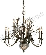 6Lt BEADED CRYSTAL Brass Floral Pendant Chandelier NEIMAN MARCUS Hanging Light