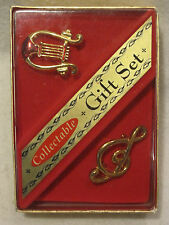 Collectable Gift Set Music musical clef note conductor pin brooche 2 gold tone
