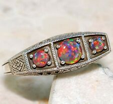 1CT Red Fire Opal 925 Solid Sterling Silver Filigree Ring Sz 7, F4-7