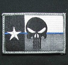 PUNISHER SKULL TEXAS STATE FLAG THIN BLUE LINE POLICE TACTICAL USA MORALE PATCH