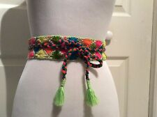 Belt Sash Embroidered Obi Tie Handmade Colorful Boho