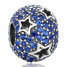 SC  Blue Pave Crystal Star Charm Sterling silver S925