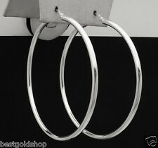 "1.75"" 2mm X 45mm Large Plain Shiny Hoop Earrings Real 925 Sterling Silver"