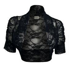 eVogues Plus Size Floral Lace Bolero Shrug Black 3XL