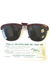 VTG Sunglasses Clip On Klips-On Circa 1960 Sunglass Rare Vision Care 48x43mm