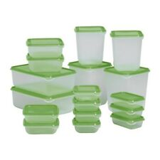 New Ikea Pruta Food Container, Set Of 17, Clear, Green