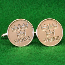 Swedish 3 Crowns Bronze Coin Cufflinks, 5 Ore 1970s Sweden Sverige Scandinavian