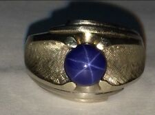 Vintage 1960's 14K Brushed White Gold Blue STAR SAPPHIRE Wide Band Ring Size 7.5