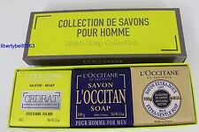 L'Occitane 3pc Men's Soap Collection: Cedrat, Savon & Shea Milk Soap 3x100g NIB