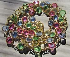 Vintage Signed Swarovski Open Back Bezel Set Crystal in Pastels Necklace 35""