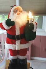 1994 HOLIDAY CREATIONS  27 INCH TALL ELECTRIC MOVING SANTA: CANDLE LIGHTS UP