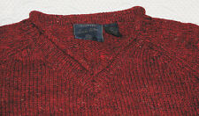 "American Eagle Burgundy Tweed Shetland Wool V Neck Sweater L  48"" Chest"